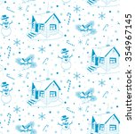 winter house. hand drawn vector ... | Shutterstock .eps vector #354967145