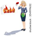 Woman And Sale Sign Posted On...