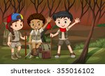 children hiking in the woods... | Shutterstock .eps vector #355016102