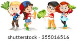 children holding fresh... | Shutterstock .eps vector #355016516