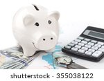 piggybank and dollar with... | Shutterstock . vector #355038122