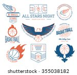 basketball badges and crests... | Shutterstock .eps vector #355038182