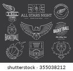 basketball badges and crests... | Shutterstock .eps vector #355038212