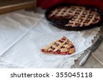 homemade cherry pie on wooden... | Shutterstock . vector #355045118