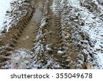 wheel tracks on dirt and snow | Shutterstock . vector #355049678