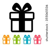 gift box icon isolated on white   Shutterstock . vector #355065536