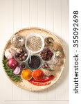 tray of assorted spices on the... | Shutterstock . vector #355092698