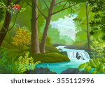 a stream flowing through a... | Shutterstock .eps vector #355112996