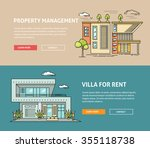 real estate market flat line... | Shutterstock .eps vector #355118738