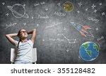 confident school girl with... | Shutterstock . vector #355128482