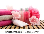 pink colored bathroom accessory ... | Shutterstock . vector #35513299