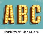 vector retro letters with light ... | Shutterstock .eps vector #355133576