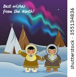 kids in the north  northern... | Shutterstock .eps vector #355134836