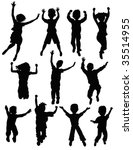 jumping people | Shutterstock .eps vector #35514955