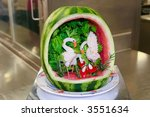 Fruit Carving Of Birds In A...