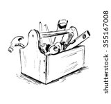 hand sketch the box with tools | Shutterstock .eps vector #355167008