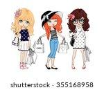 shopping girl vector design.t...   Shutterstock .eps vector #355168958