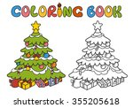 christmas tree with gifts.... | Shutterstock .eps vector #355205618