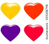 set of four colorful hearts ... | Shutterstock .eps vector #355208798