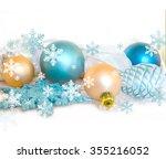 christmas fir tree decoration... | Shutterstock . vector #355216052