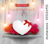 paper heart and red roses on a...   Shutterstock .eps vector #355231952