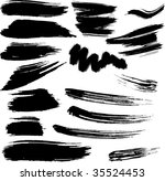Collection of design elements. Grunge vector brush strokes - stock vector