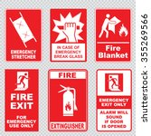 set of fire emergency sign | Shutterstock .eps vector #355269566