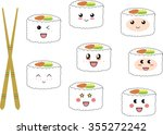 cute sushi characters with... | Shutterstock .eps vector #355272242