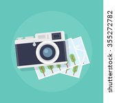 camera with photos in flat... | Shutterstock .eps vector #355272782