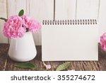 blank desk calendar with pink... | Shutterstock . vector #355274672