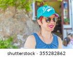 beautiful young woman enjoying... | Shutterstock . vector #355282862
