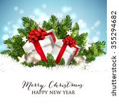 christmas party invitation with ... | Shutterstock .eps vector #355294682