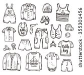 set of cute hand drawn clothes... | Shutterstock .eps vector #355301456