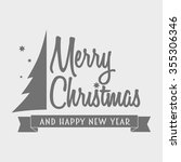 merry christmas logotype with... | Shutterstock . vector #355306346