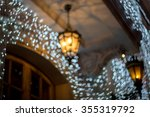 christmas garland on a building ... | Shutterstock . vector #355319792