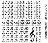 big set of music notes. vector... | Shutterstock .eps vector #355319972