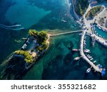 arial view of marina with boats ... | Shutterstock . vector #355321682