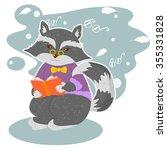 raccoon with book | Shutterstock .eps vector #355331828