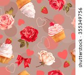 seamless romantic pattern with... | Shutterstock .eps vector #355349756