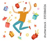 happy boy jumping with gift... | Shutterstock .eps vector #355386026