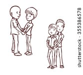gay couple in love. hand drawn... | Shutterstock .eps vector #355386578