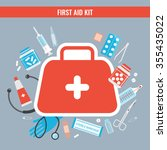 first aid kit with medical... | Shutterstock .eps vector #355435022