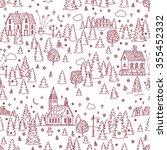 christmas landscape seamless... | Shutterstock .eps vector #355452332
