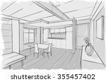 sketch drawing of modern... | Shutterstock .eps vector #355457402