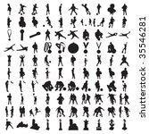 hundred soccer silhouettes   Shutterstock .eps vector #35546281
