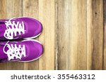 Purple Sneakers With Wooden...