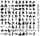 hundred hockey silhouettes | Shutterstock .eps vector #35548780
