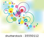 group of colored  flowers... | Shutterstock .eps vector #35550112