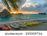 sunset in a beach in bora bora  ... | Shutterstock . vector #355509716