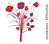 floral background roses  vector ... | Shutterstock .eps vector #355513526